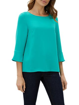 Jaeger Fluted Crepe Top, Green