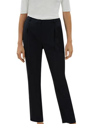 Jaeger Relaxed Fit Pleat Trousers, Navy
