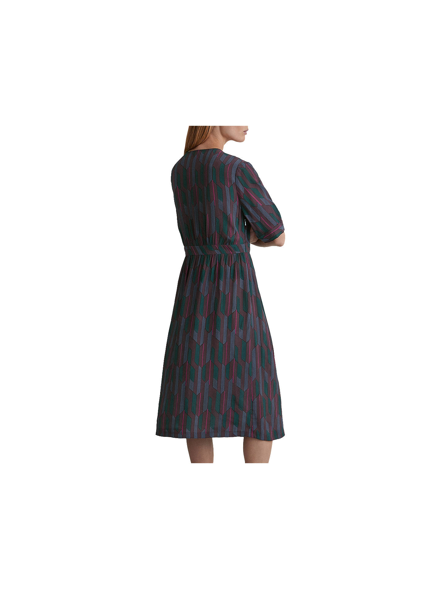 BuyToast Geo Printed V-Neck Dress, Damson, 14 Online at johnlewis.com