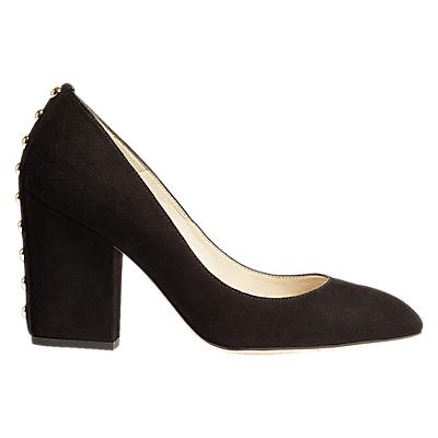 Karen Millen Block Heel Court Heels, Black Leather