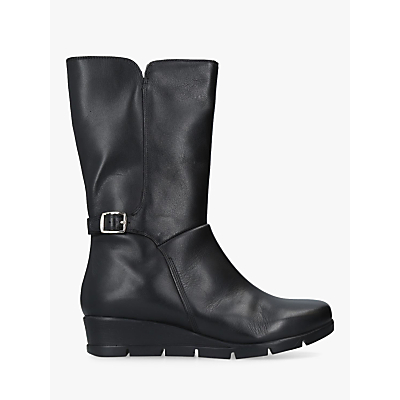 Carvela Comfort Reign Flatform Calf Boots, Black Leather