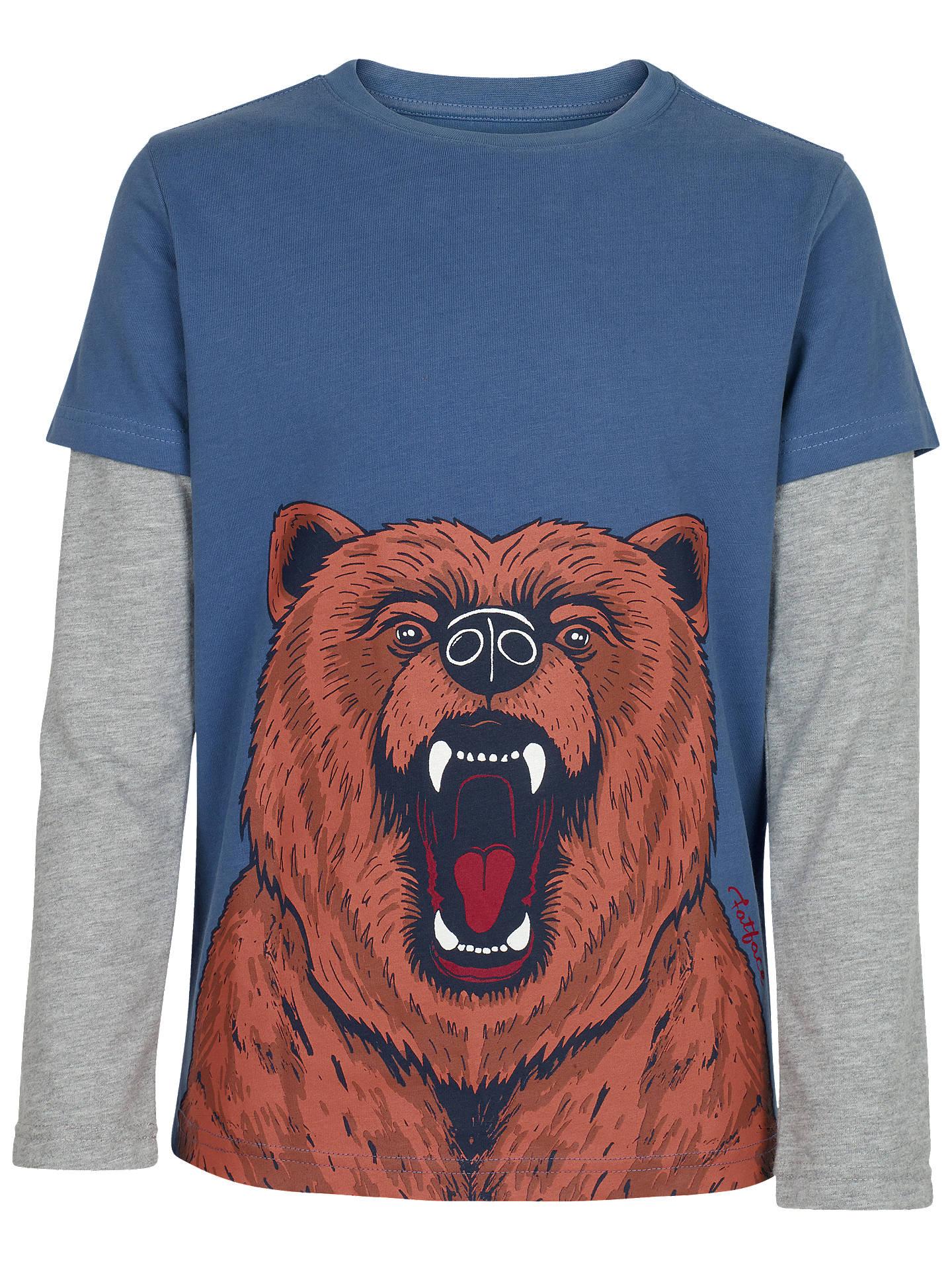4e1f3da2 Fat Face Boys' Bear Print Long Sleeve T-Shirt, Slate Blue at John ...