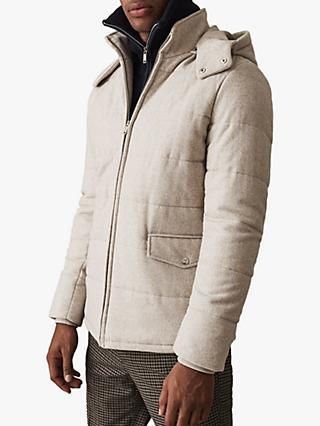 Reiss Sweeney Quilted Hooded Jacket, Brown