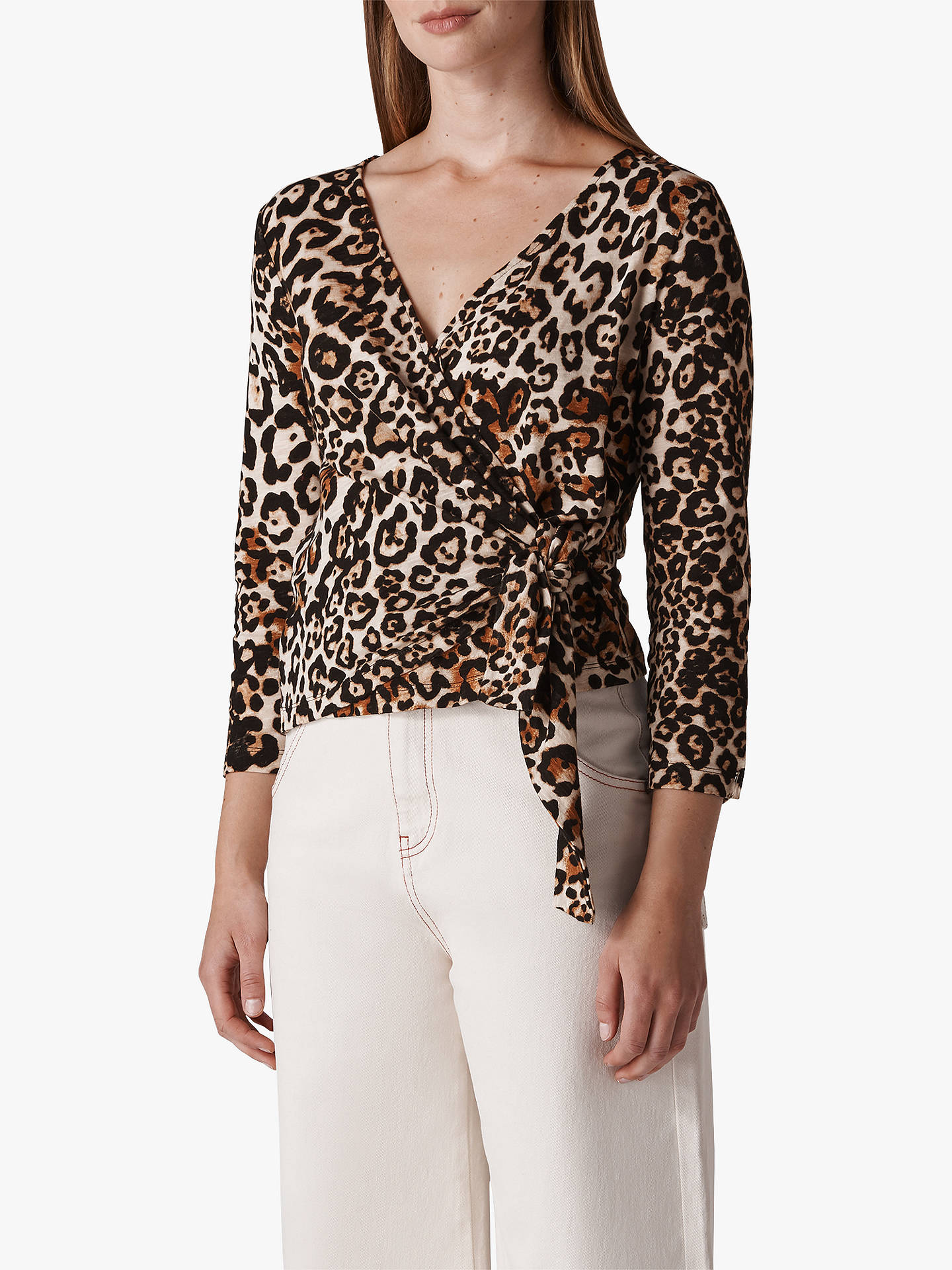 771831ea46f1 Buy Whistles Leopard Print Wrap Top, Multi, XS Online at johnlewis.com ...