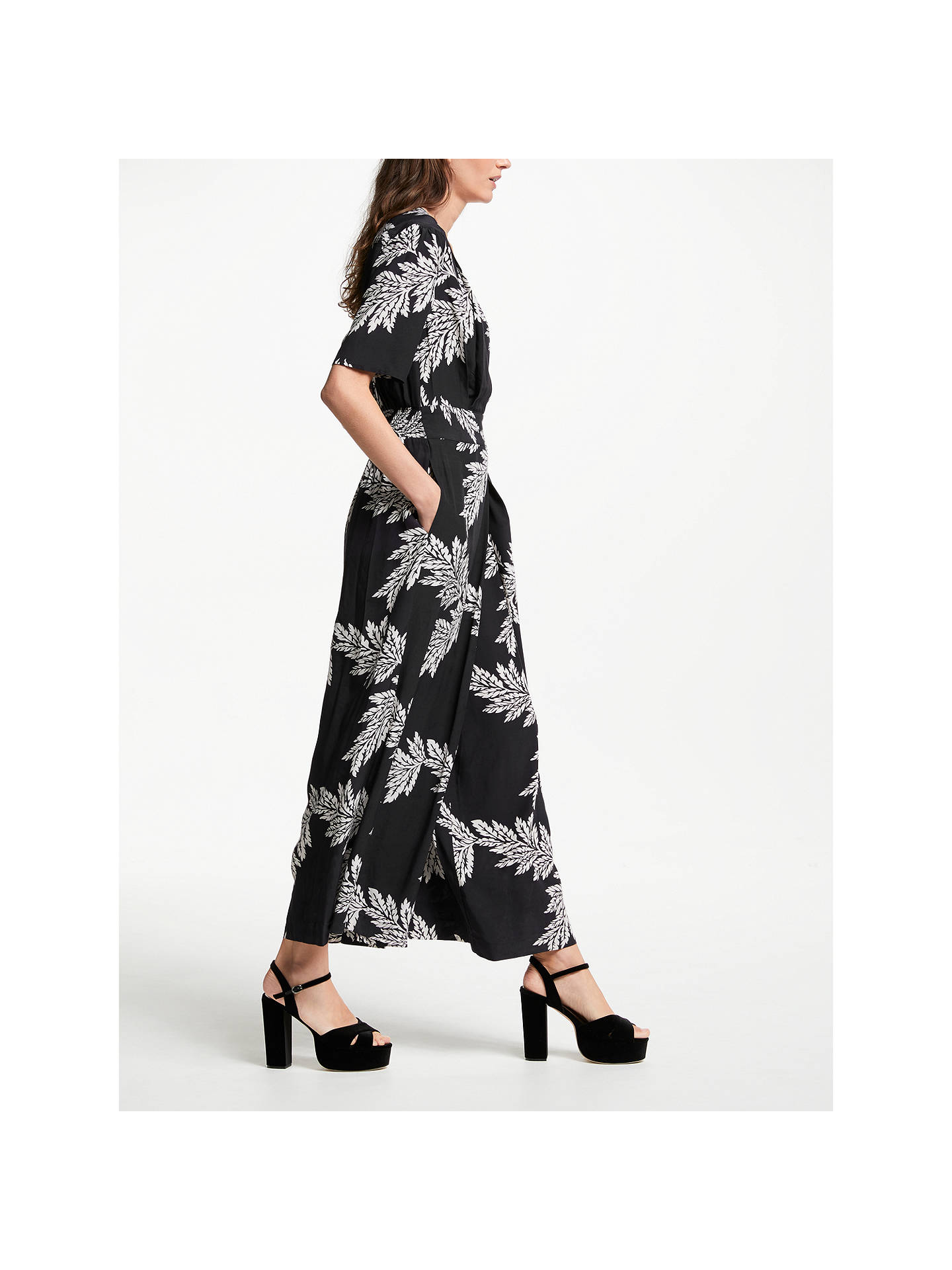 BuySomerset by Alice Temperley Palm Print Jumpsuit, Black/White, 8 Online at johnlewis.com