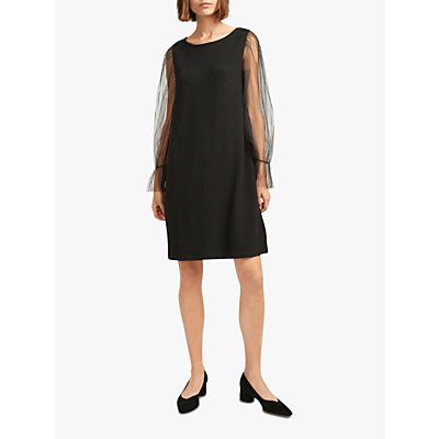 French Connection Sheer Jersey Shift Dress, Black