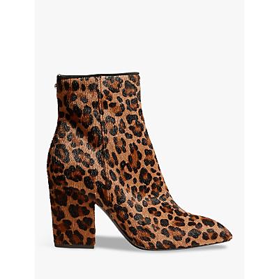 Karen Millen Block Heel Ankle Boots, Leopard Leather