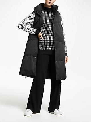 PATTERNITY + John Lewis Long Puffer Gilet, Black