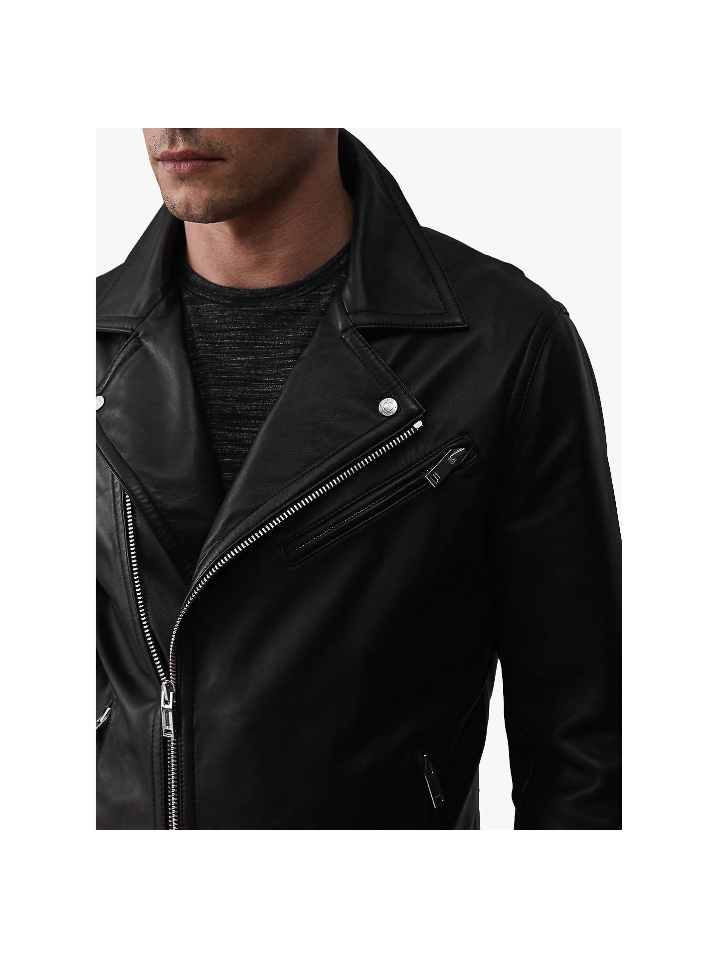 Buy Reiss Honne Leather Biker Jacket, Black, S Online at johnlewis.com