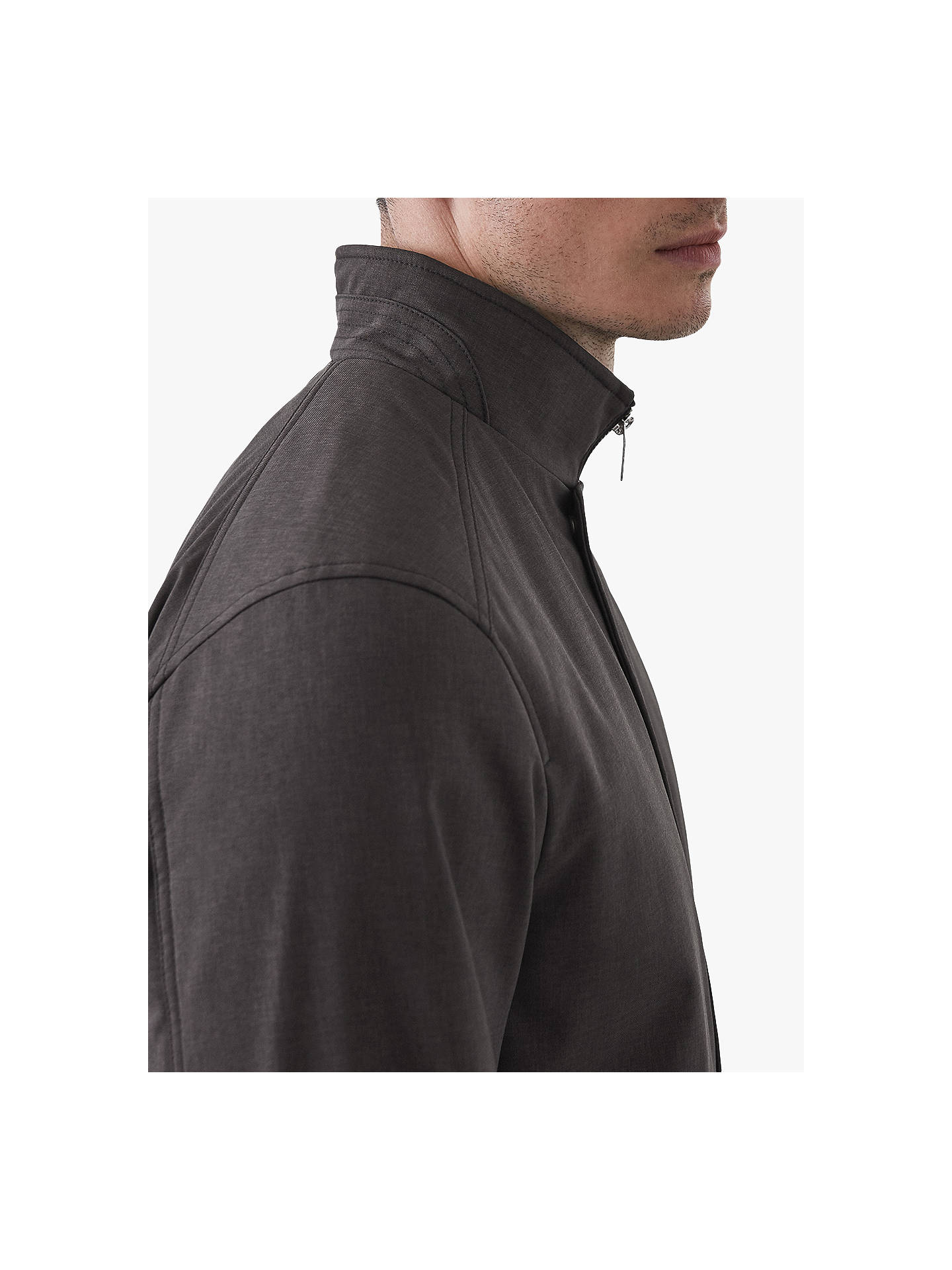 BuyReiss Heath Tech Zip Through Jacket, Grey, S Online at johnlewis.com
