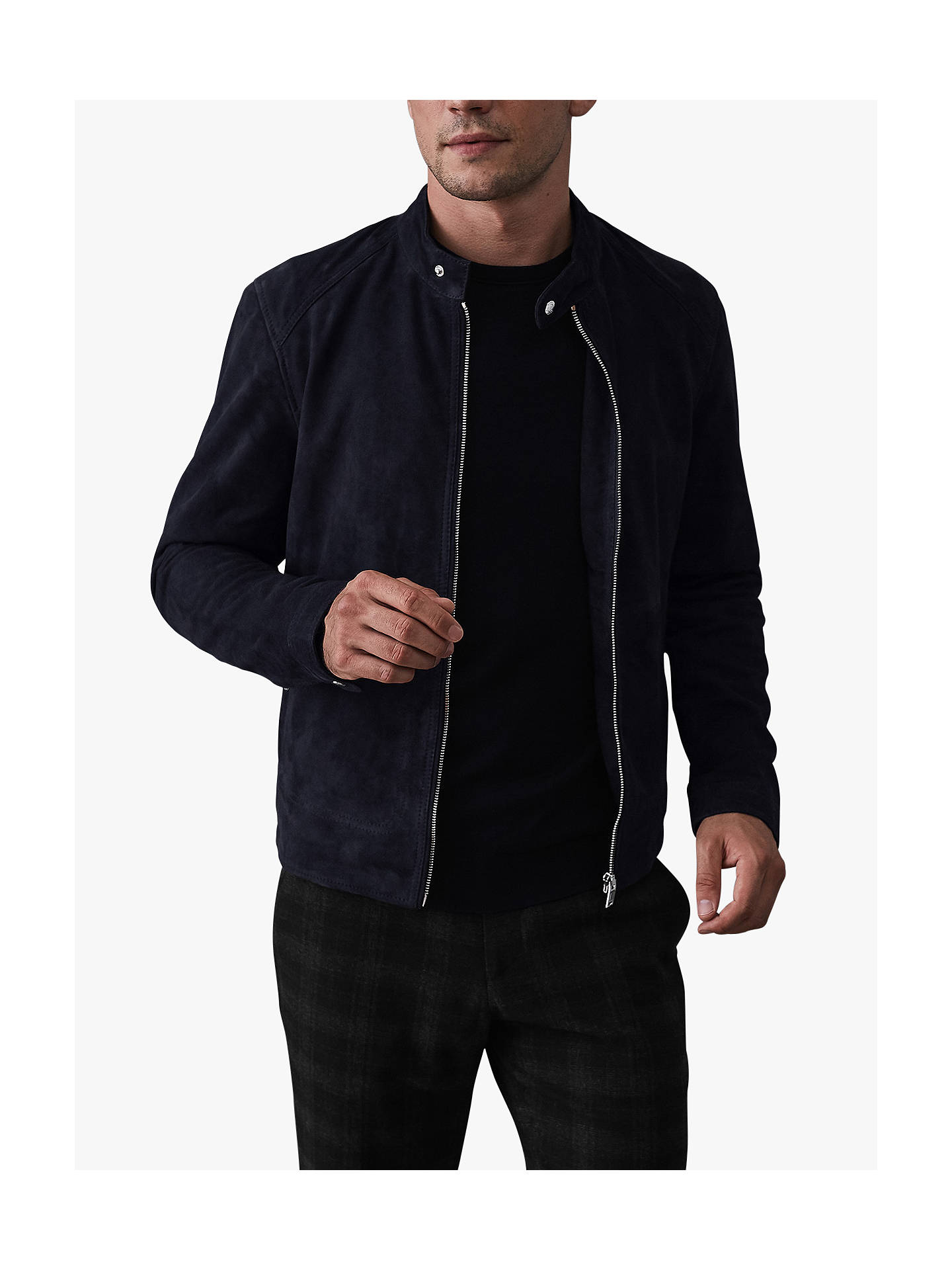 Buy Reiss Jacob Suede Jacket, Navy, S Online at johnlewis.com