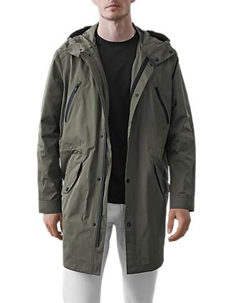 Reiss Flint Longline Hooded Parka, Khaki