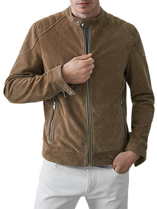 Buy Reiss Pyke Suede Quilted Jacket, Tan, S Online at johnlewis.com