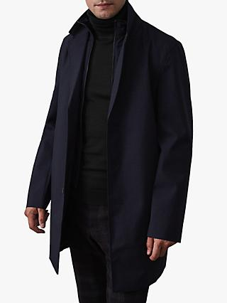 Reiss Kurgan Longline Mac with Gilet Insert, Navy