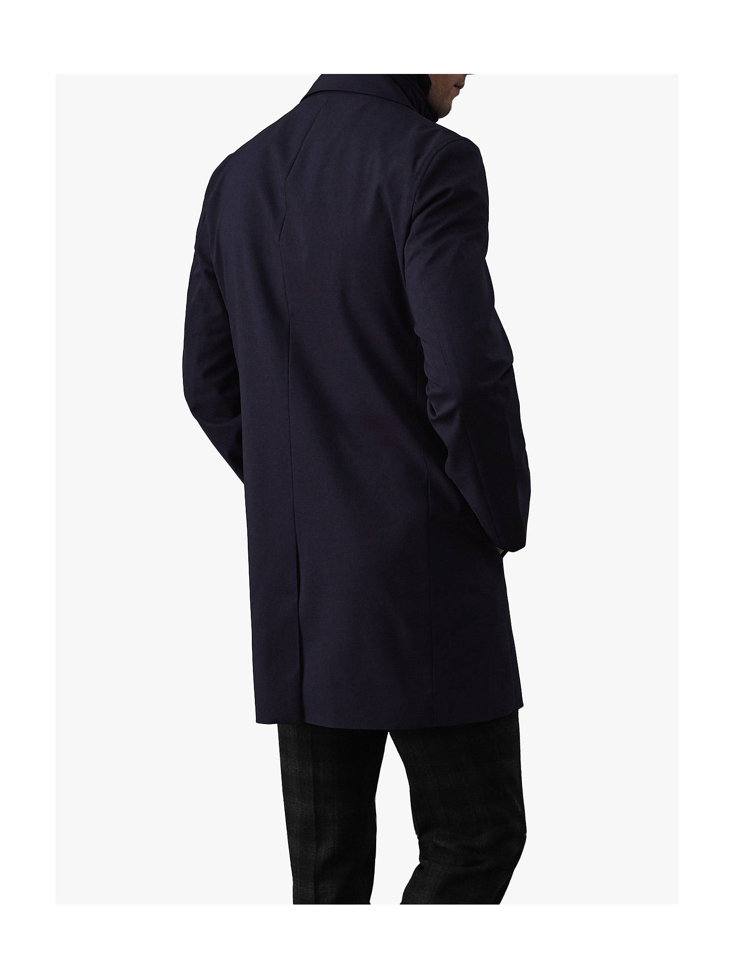 Buy Reiss Kurgan Longline Mac with Gilet Insert, Navy, L Online at johnlewis.com
