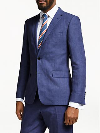 John Lewis & Partners Linen Slim Fit Suit Jacket, Indigo