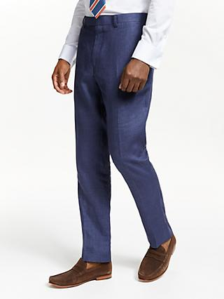 John Lewis & Partners Linen Slim Fit Suit Trousers, Indigo