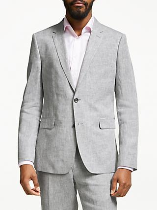 John Lewis & Partners Linen Slim Fit Suit Jacket, Silver