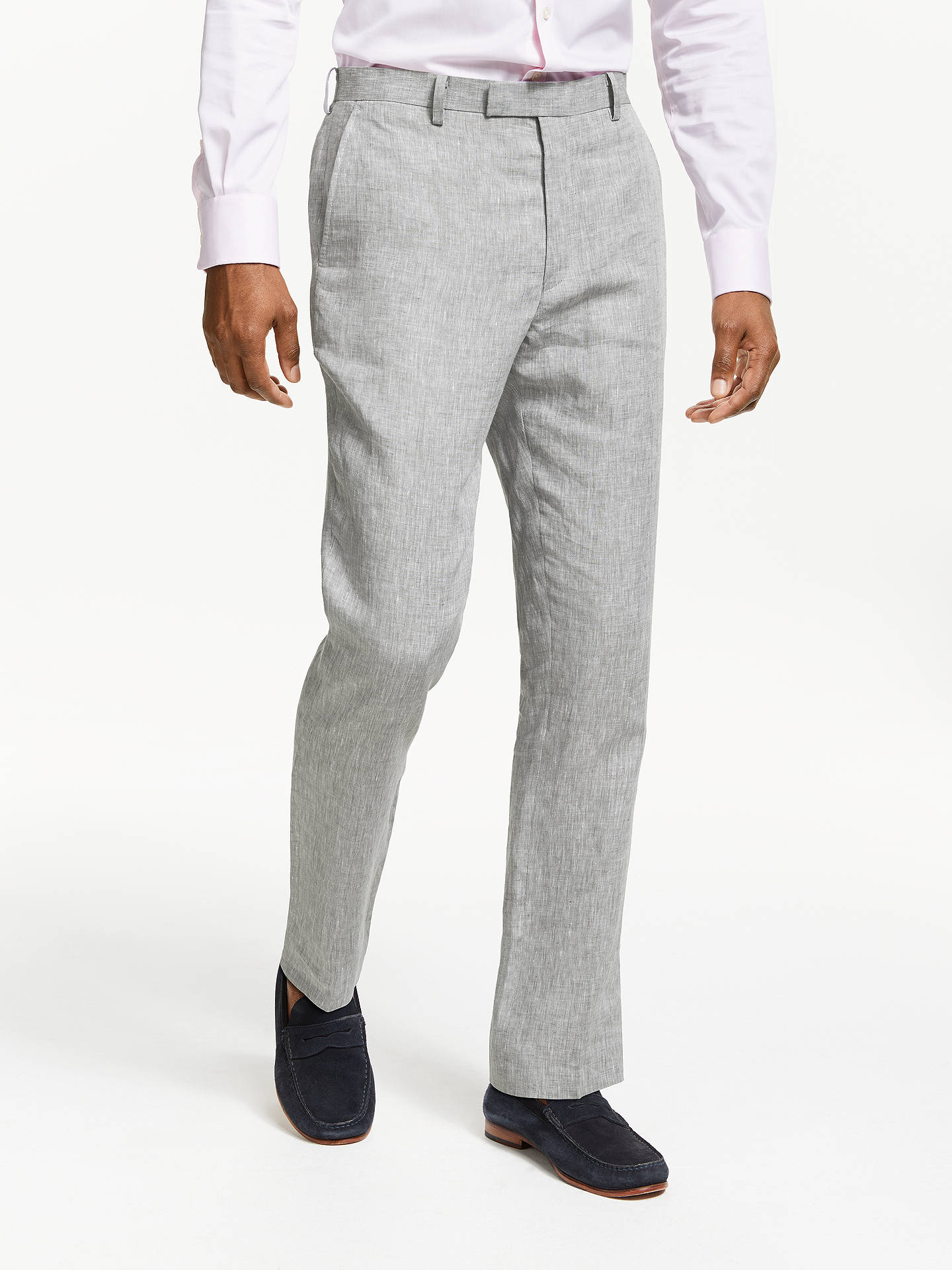 Buy John Lewis & Partners Linen Slim Fit Suit Trousers, Silver, 34L Online at johnlewis.com