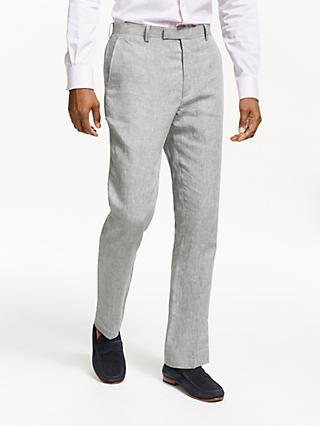 John Lewis & Partners Linen Slim Fit Suit Trousers, Silver