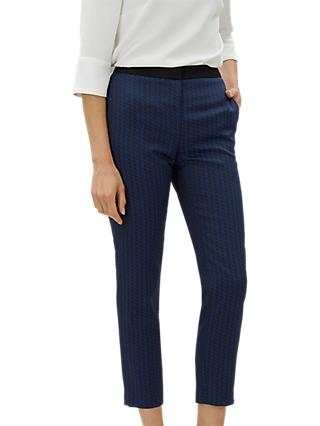 Jaeger Zig Zag Jaquard Trousers, Navy