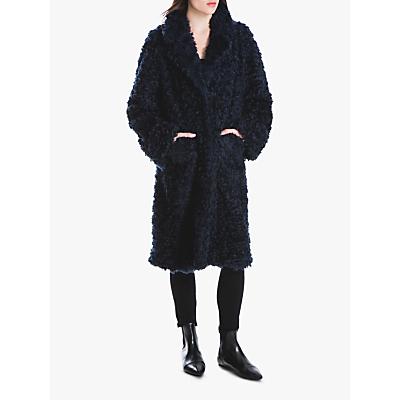 Max Studio Curly Faux Fur Coat, Navy