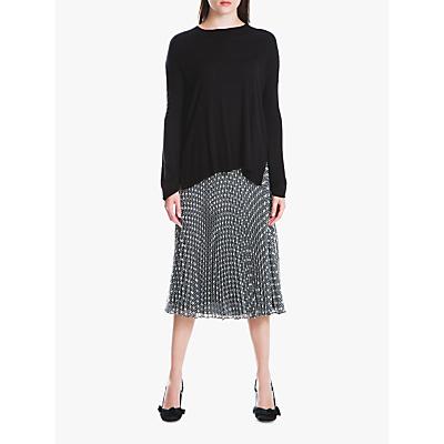 Max Studio Flared Pleated Midi Skirt, Black/White