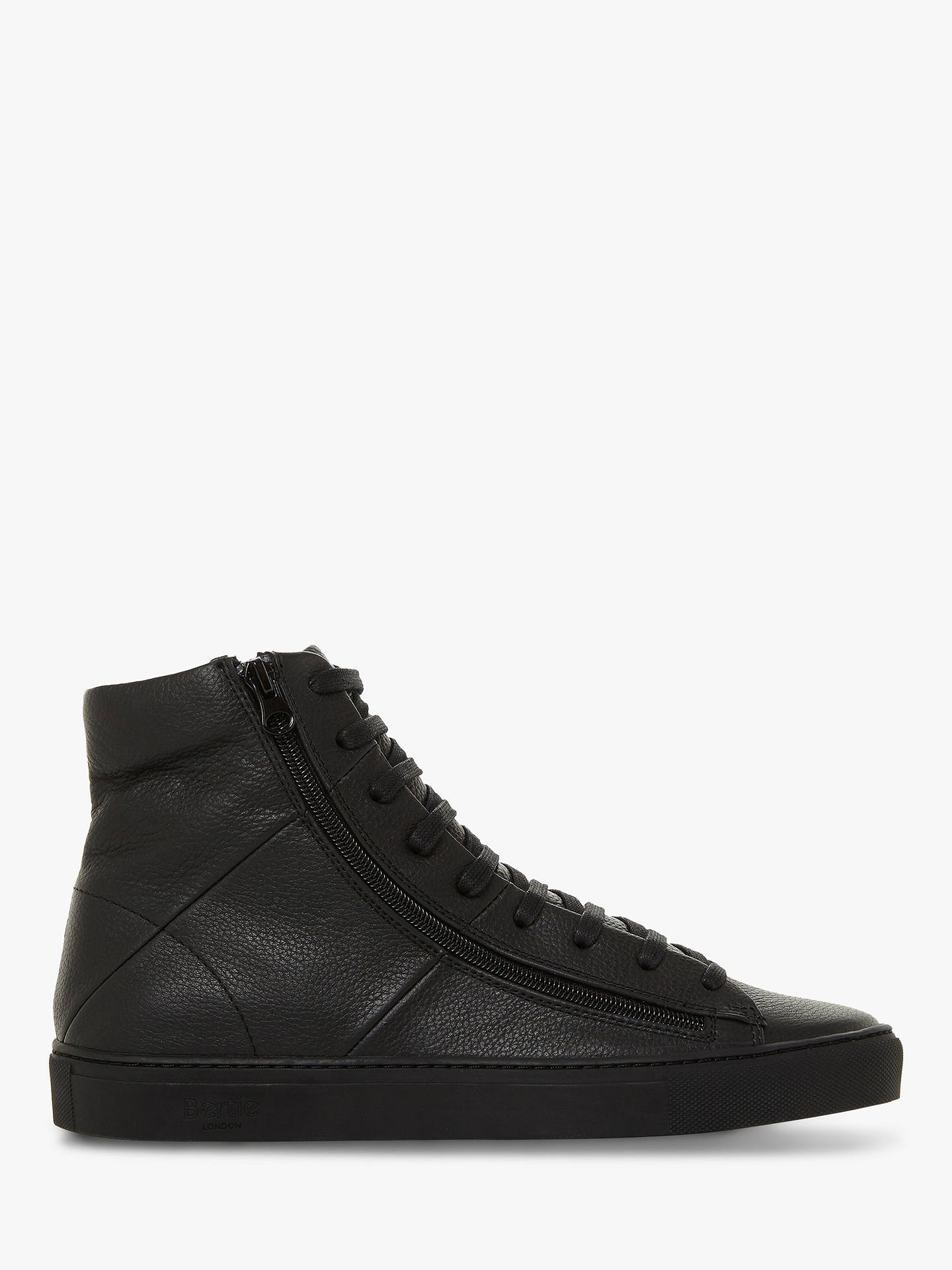BuyBertie Cable Leather High Top Trainers, Black, 12 Online at johnlewis.com