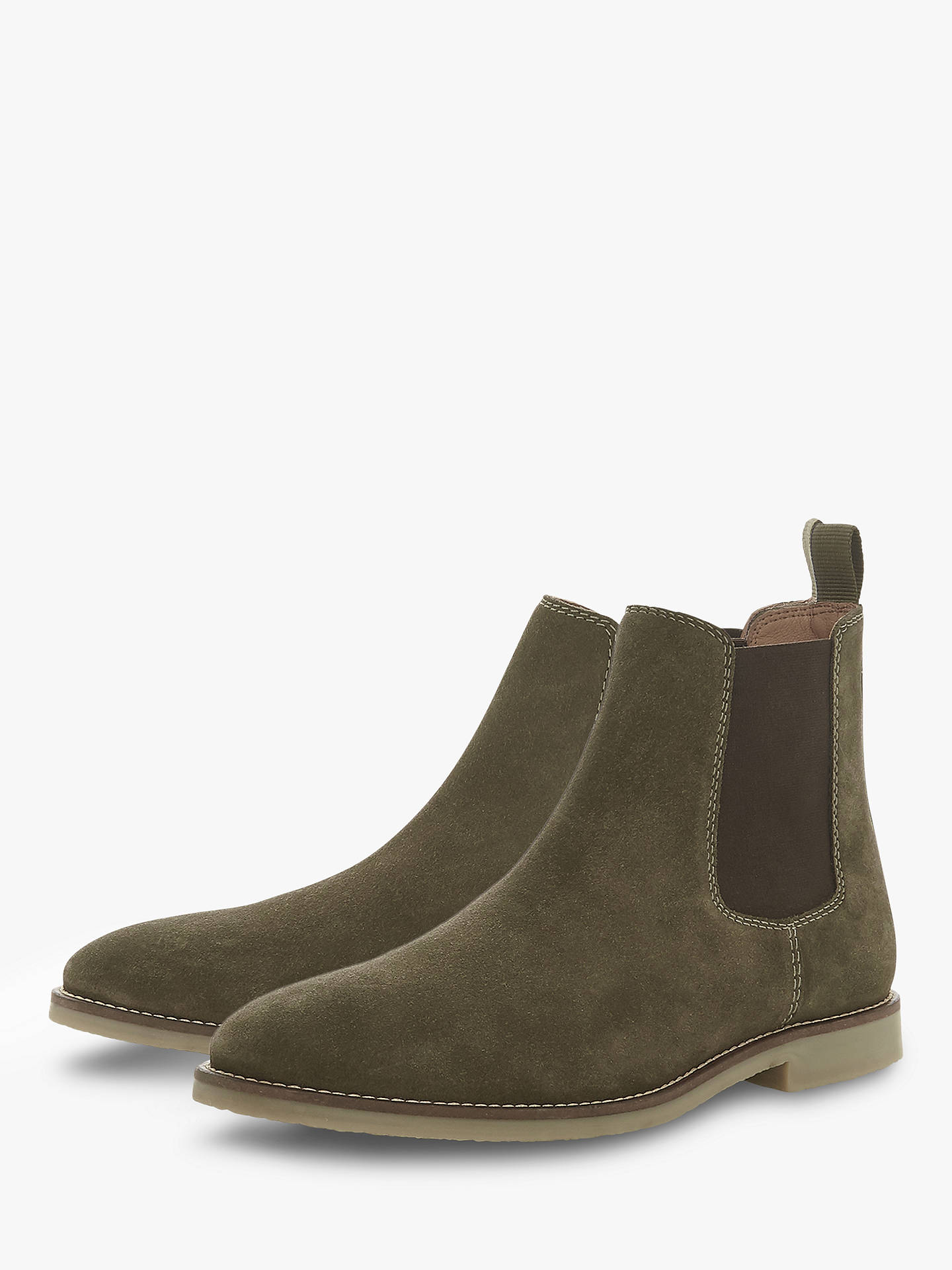 Dune Calzaghe Suede Chelsea Boots Khaki At John Lewis Partners