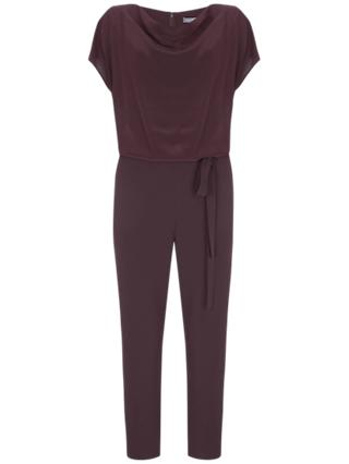 Mint Velvet Cerise Cowl-Neck Silk Jumpsuit, Burgundy