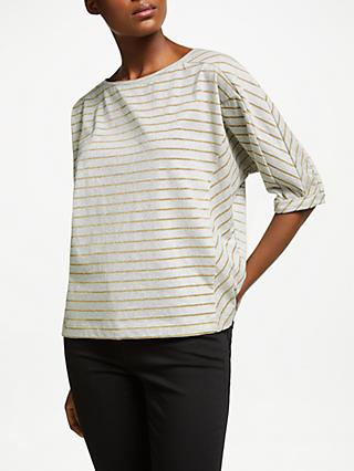 AND/OR Carly Striped Top, Grey Marl/Gold Metallic