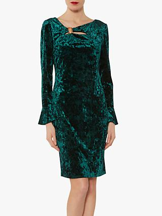 Gina Bacconi Cecilia Crushed Velvet Dress, Velvet Dark Green