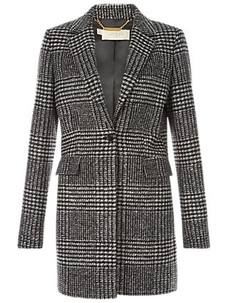 Hobbs Tia Check Tailored Coat, Black Ivory