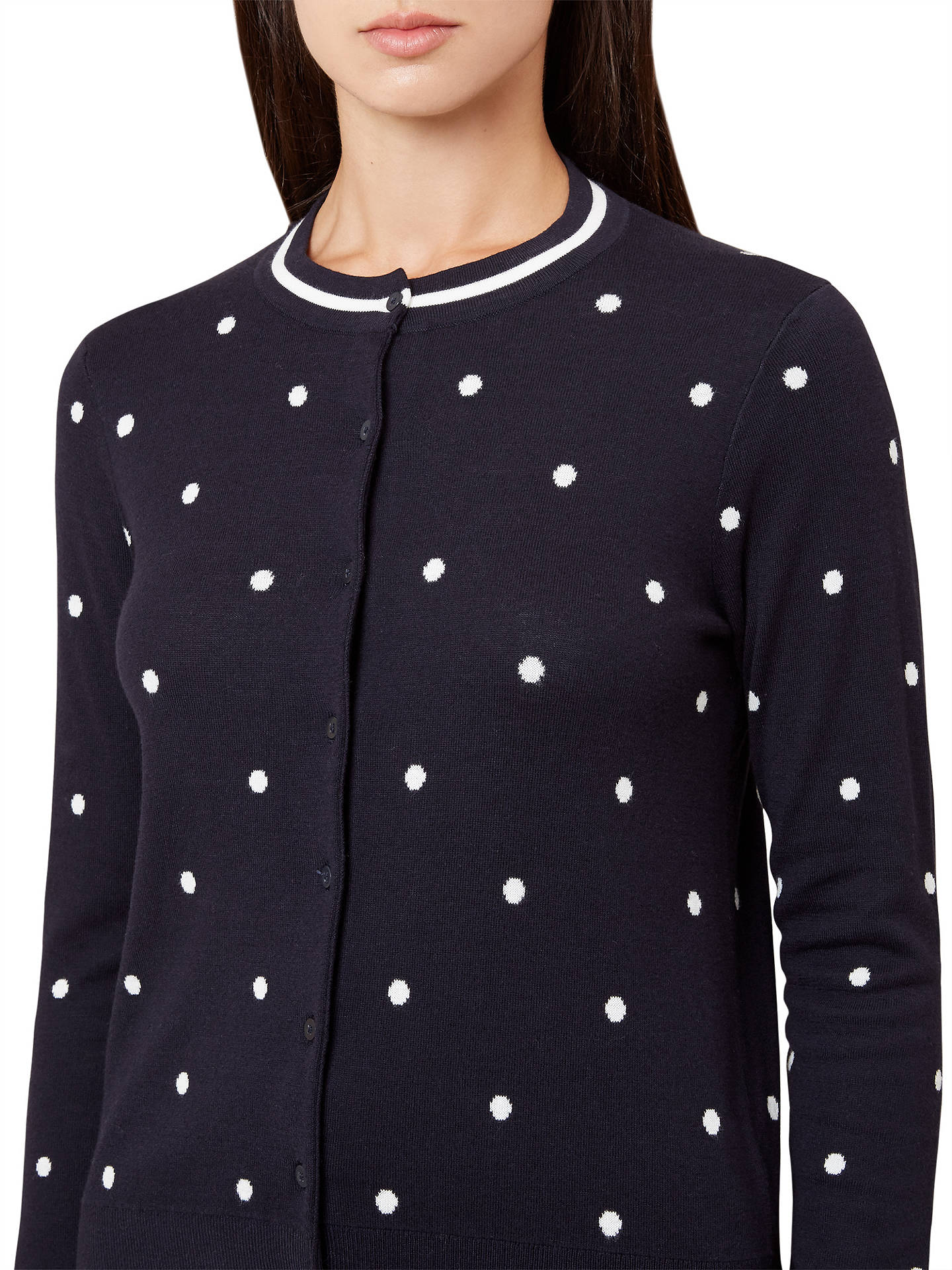BuyHobbs Chantelle Cardigan, Navy/Ivory, S Online at johnlewis.com