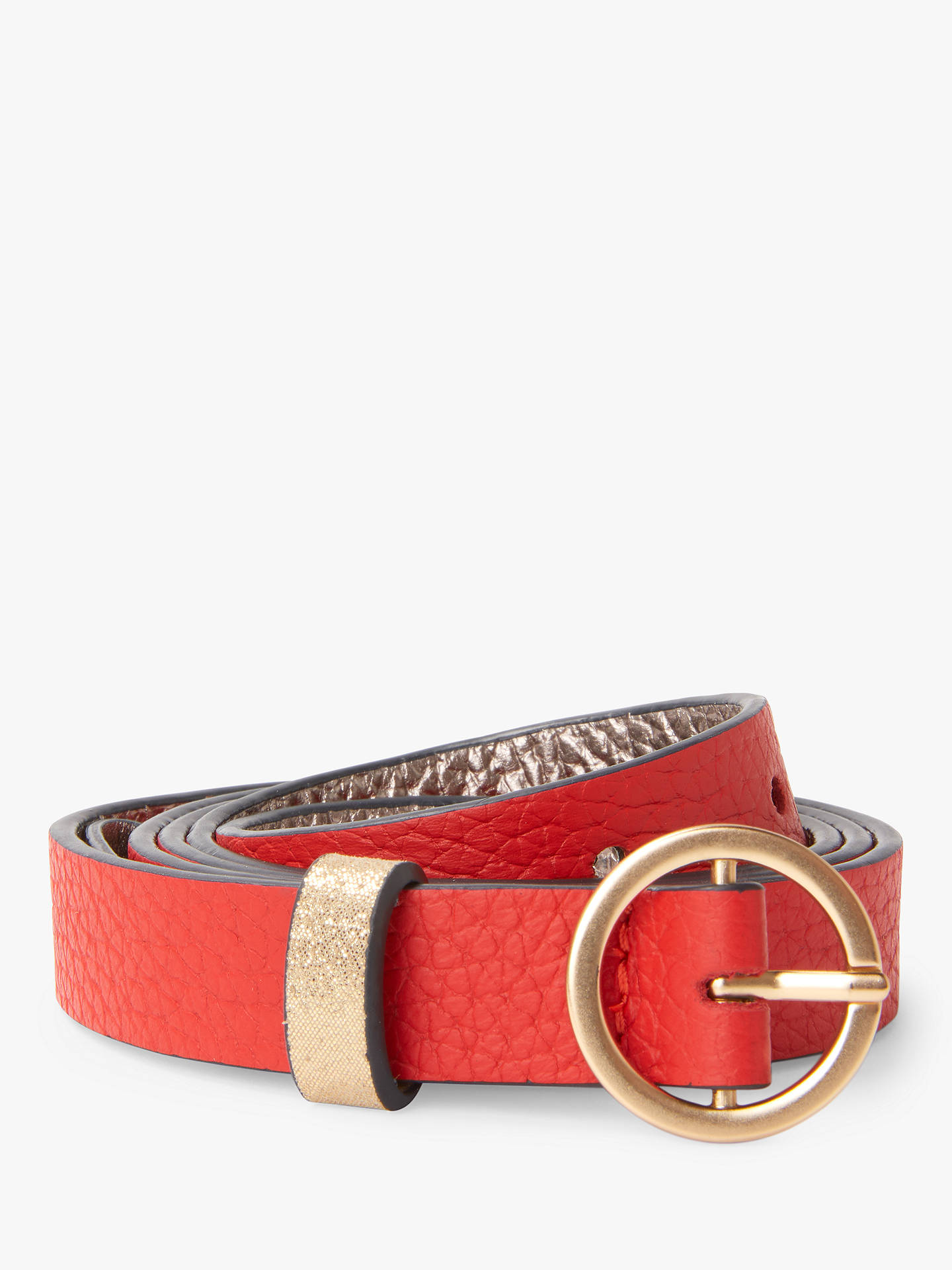 BuyBoden Leather Skinny Belt, Post Box Red, XS Online at johnlewis.com