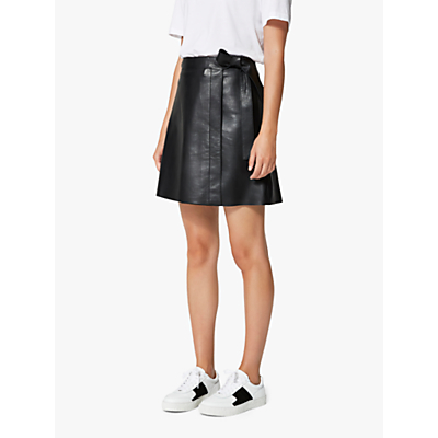 Selected Femme Maria Leather Skirt, Black