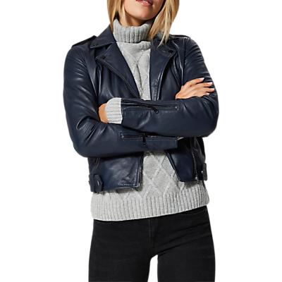 Selected Femme Holly Leather Biker Jacket, Dark Sapphire