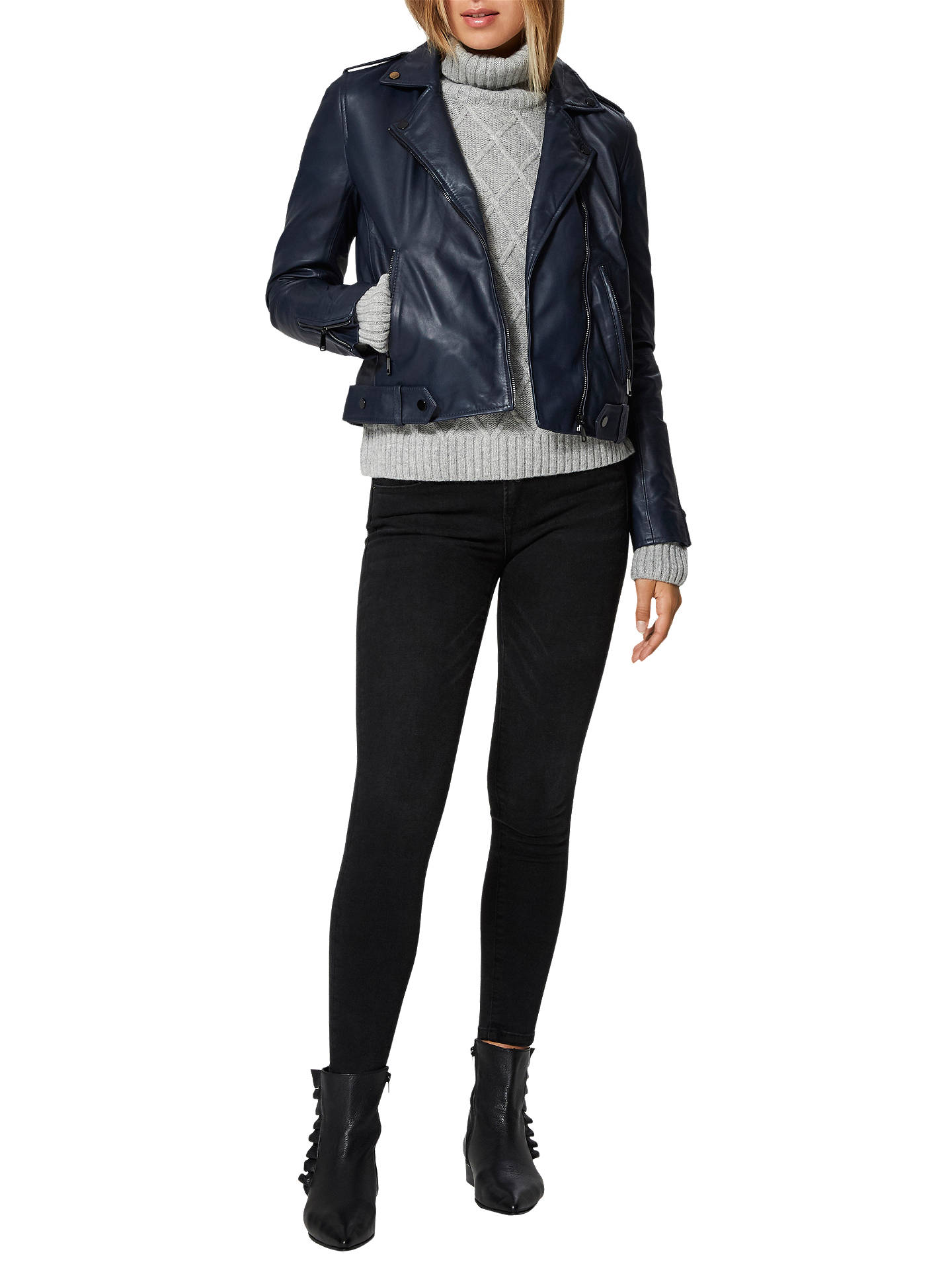 BuySelected Femme Holly Leather Biker Jacket, Dark Sapphire, 8 Online at johnlewis.com