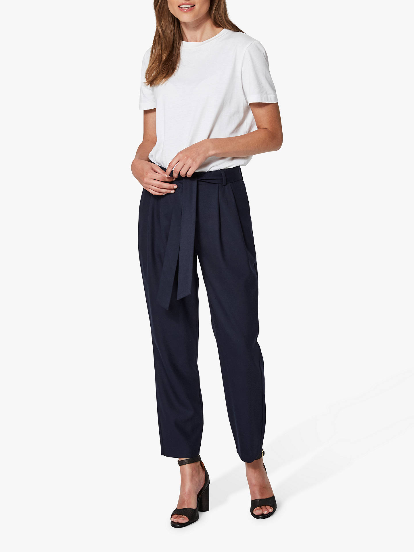 Buy Selected Femme Bio Wool Blend Cropped Trousers, Dark Sapphire, 8 Online at johnlewis.com
