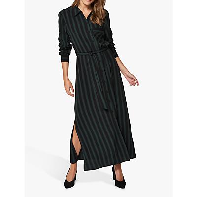 Selected Femme Flornta Maxi Shirt Dress, Black/Green