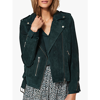 Selected Femme Sanella Suede Jacket, Scarab Green