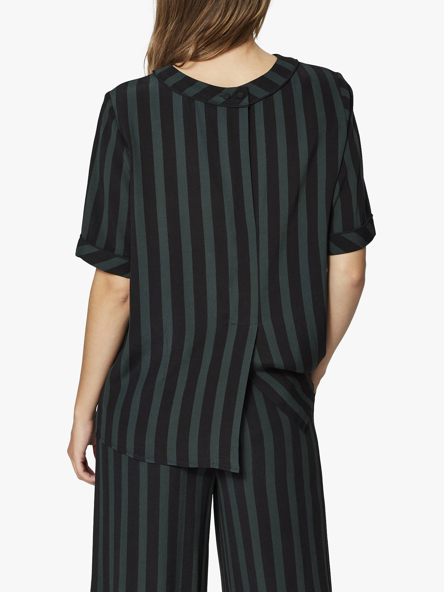 BuySelected Femme Florenta Stripe Top, Black/Green Scarab, 10 Online at johnlewis.com