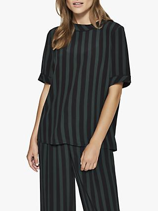 Selected Femme Florenta Stripe Top, Black/Green Scarab