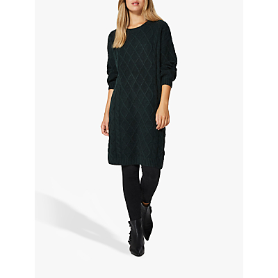 Selected Femme Carmi Cable Knit Dress, Scarab Green