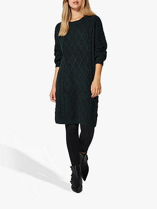 Buy Selected Femme Carmi Cable Knit Dress, Scarab Green, S Online at johnlewis.com