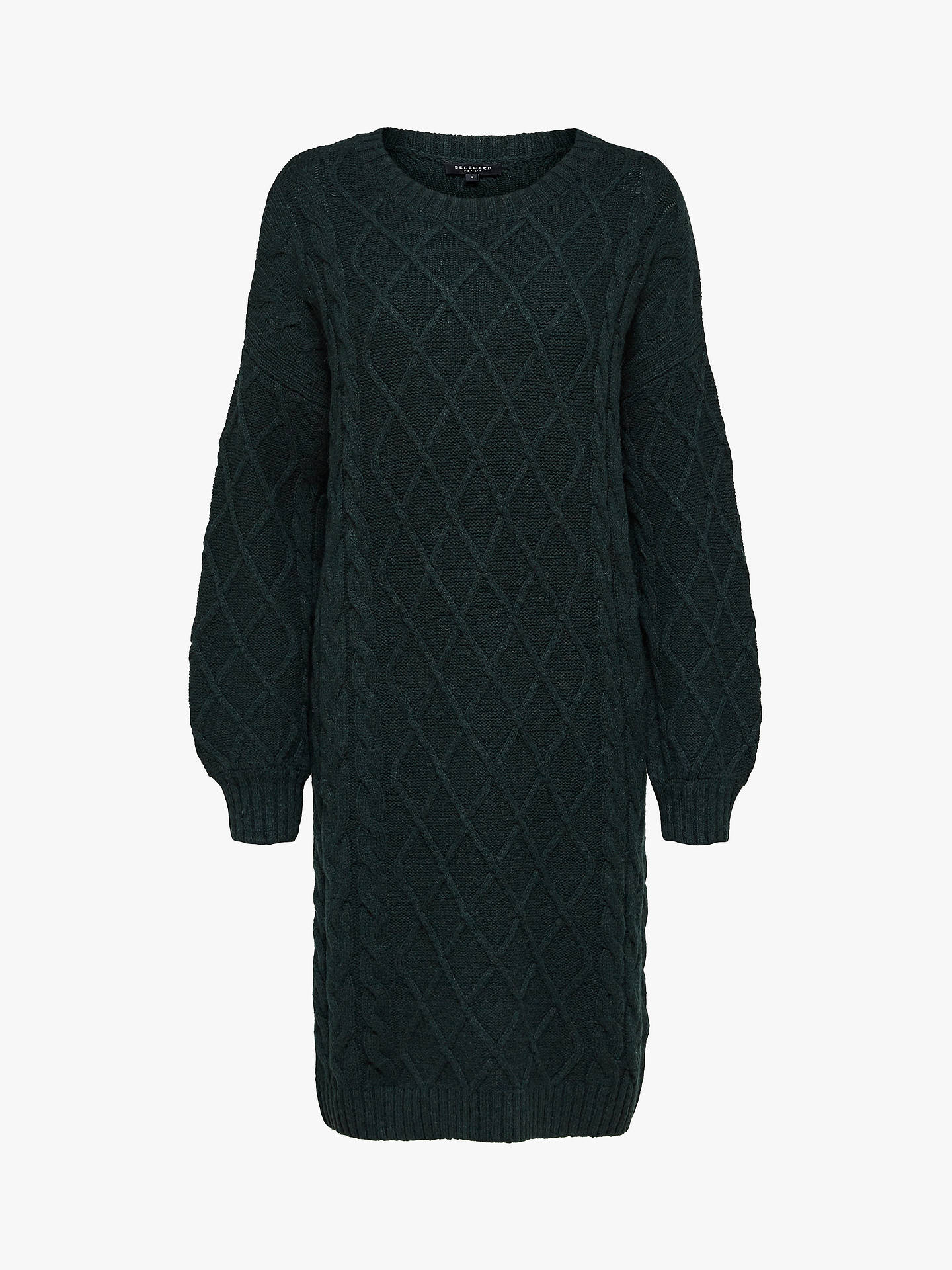 Buy Selected Femme Carmi Cable Knit Dress, Scarab Green, XS Online at johnlewis.com