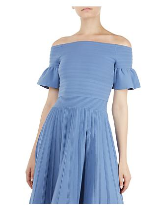 Ted Baker Criptum Skater Bardot Dress, Blue Light