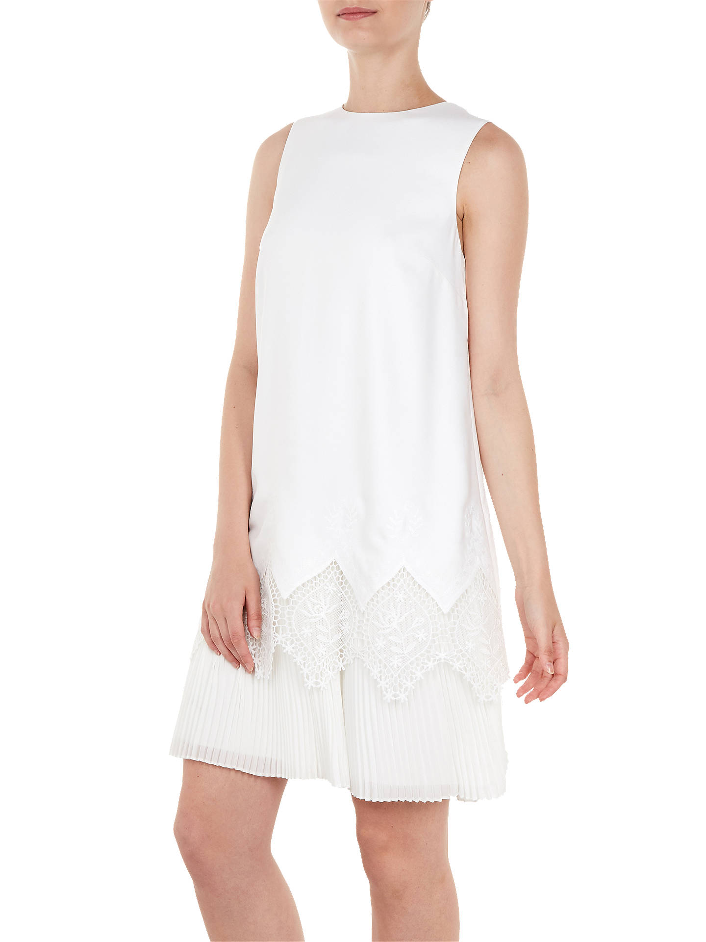 Buy Ted Baker Nadeen Lace Hem Dress, White, 4 Online at johnlewis.com