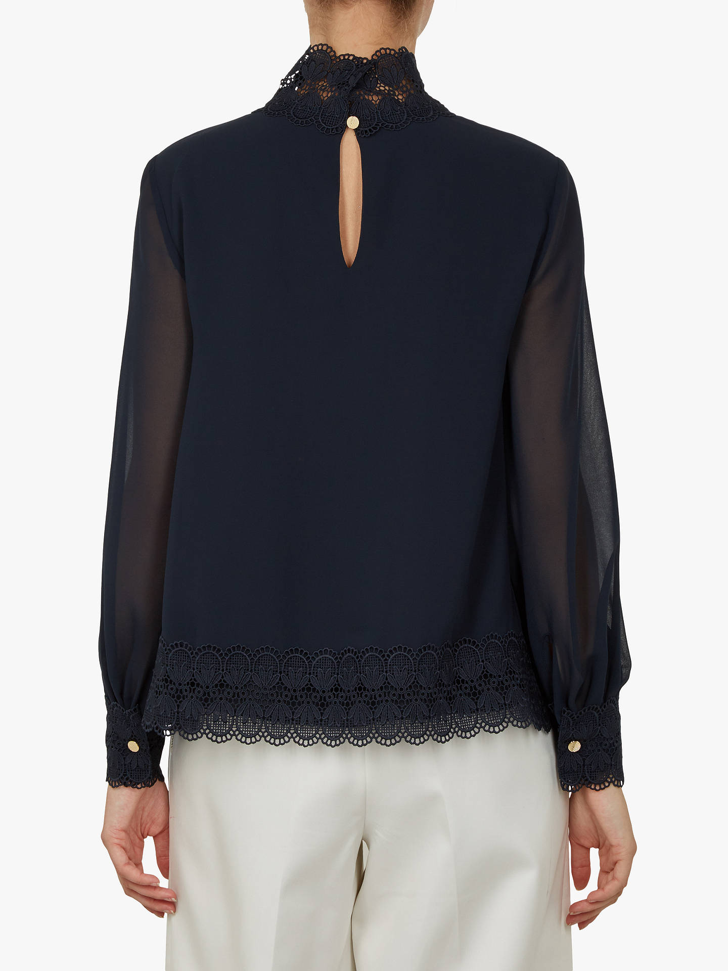BuyTed Baker Cailley Neck Top, Blue Navy, 0 Online at johnlewis.com