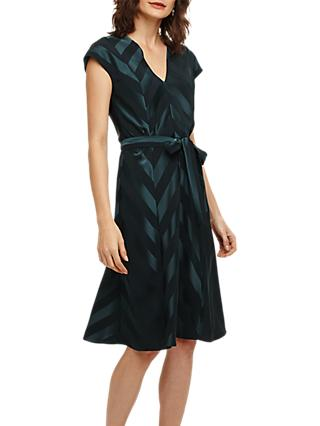 Phase Eight Evelyn Striped Dress, Ever Green